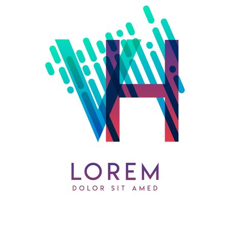VH logo with the theme of galaxy speed and style that is suitable for creative and business industries. HV Letter Logo design for all webpage media and mobile, simple, modern and colorful