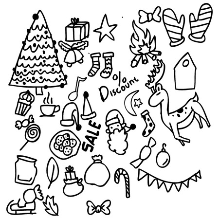 Christmas and New Year doodle, complete with deer, Christmas trees, Santa Claus, and various Christmas ornaments. in pictures for children and is very easy to apply in various designs Ilustrace
