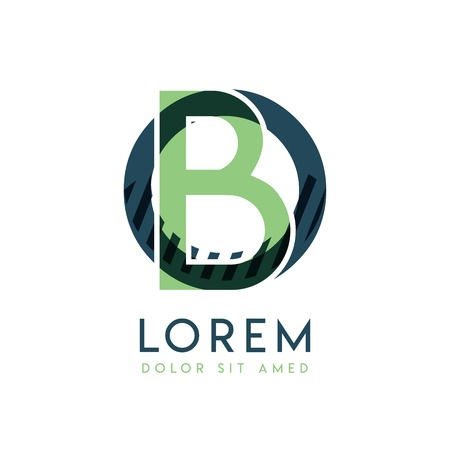OB colorful logo design with green and dark green color that can be used for creative business and advertising. BO logo is filled with bubbles and dots, can be used for all areas of the company