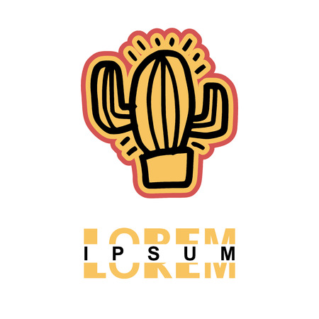Cactus logo in cartoon images on paper. can be applied to various media either paper or plastic. This Cactus  logo with orange and pink lines can be used for various companies 일러스트