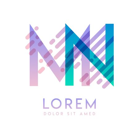 MN logo with the theme of galaxy speed and style that is suitable for creative and business industries. NM Letter Logo design for all webpage media and mobile, simple, modern and colorful