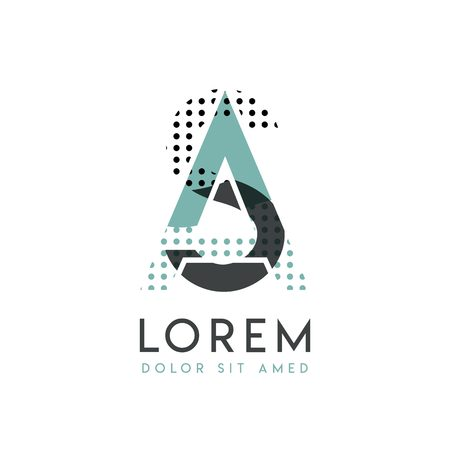 SA modern logo design with gray and blue color that can be used for creative industries and paper printing. AS logo is filled with bubbles and dots, can be applied in the background and wallpaper
