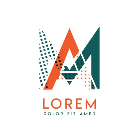 MA modern logo design with orange and green color that can be used for creative business and advertising. AM logo is filled with bubbles and dots, can be used for all areas of the company