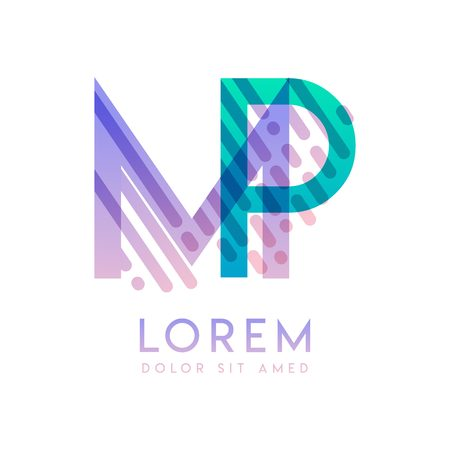 MP logo with the theme of galaxy speed and style that is suitable for creative and business industries. PM Letter Logo design for all webpage media and mobile, simple, modern and colorful