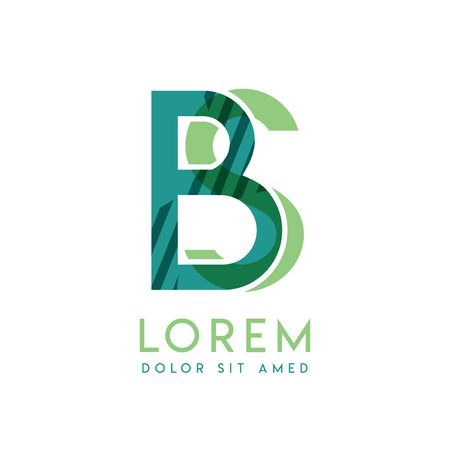 SB luxury logo design with green and dark green color that can be used for creative business and advertising. BS logo is filled with bubbles and dots, can be used for all areas of the company