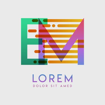 EM logo with the theme of galaxy speed and style that is suitable for creative and business industries. ME Letter Logo design for all webpage media and mobile, simple, modern and colorful Ilustração