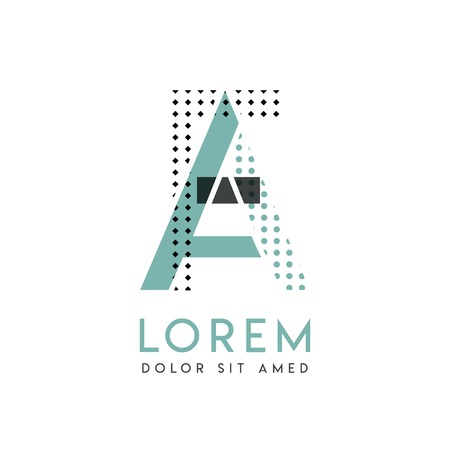 FA modern logo design with gray and blue color that can be used for creative industries and paper printing. AF logo is filled with bubbles and dots, can be applied in the background and wallpaper
