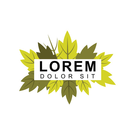 Autumn logos with brown and green leaves, forests, cherries, seasonal scenery. designed for environmental and health safety. suitable for botanical, agricultural and organic plant businesses