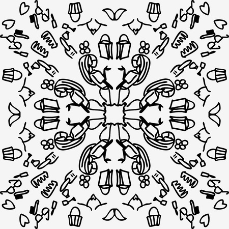 Doodle fashion with a thick, symmetrical, circle and simple black line style, suitable for shopping, convection, advertisement, womens needs, and beauty business industries