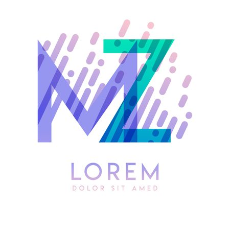 MZ logo with the theme of galaxy speed and style that is suitable for creative and business industries. ZM Letter Logo design for all webpage media and mobile, simple, modern and colorful