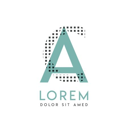 CA modern logo design with gray and blue color that can be used for creative industries and paper printing. AC logo is filled with bubbles and dots, can be applied in the background and wallpaper