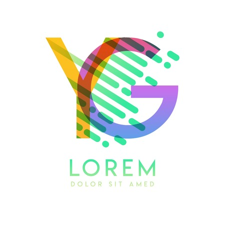 GY logo with the theme of galaxy speed and style that is suitable for creative and business industries. YG Letter Logo design for all webpage media and mobile, simple, modern and colorful