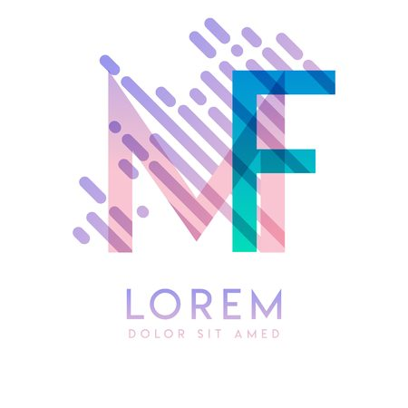 MF logo with the theme of galaxy speed and style that is suitable for creative and business industries. FM Letter Logo design for all webpage media and mobile, simple, modern and colorful