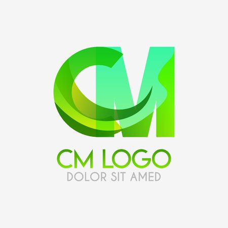 The CM logo with striking colors and gradations, modern and simple for industrial, retail, business, corporate. this MC logo made for online and offline media both web, mobile, logo, brochure, flayer 向量圖像