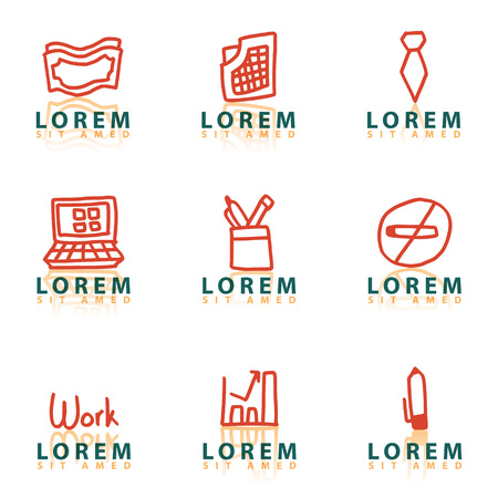 Thin Line Icon Set - trash bin vector, reception, manager, handshake, hierarchy, book, team, pen, money bag, job, circle chart, contract, clipboard, user, notes, clock, drawing pin, office building
