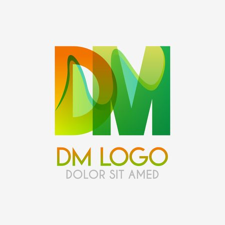 The DM logo with striking colors and gradations, modern and simple for industrial, retail, business, corporate. this MD logo made for online and offline media both web, mobile, logo, brochure, flayer Ilustração