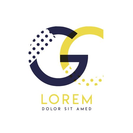 GC simple logo design with yellow and purple color that can be used for creative business and advertising. CG logo is filled with bubbles and dots, can be used for all areas of the company
