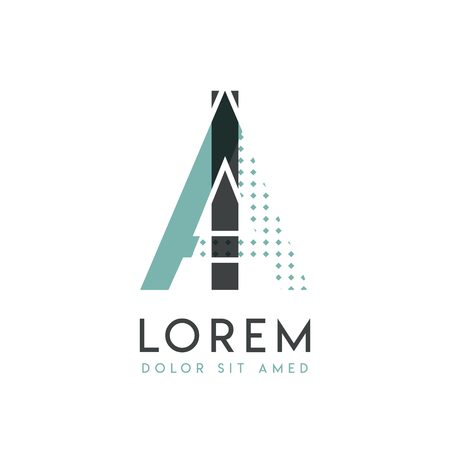 IA modern logo design with gray and blue color that can be used for creative industries and paper printing. AI logo is filled with bubbles and dots, can be applied in the background and wallpaper Illusztráció