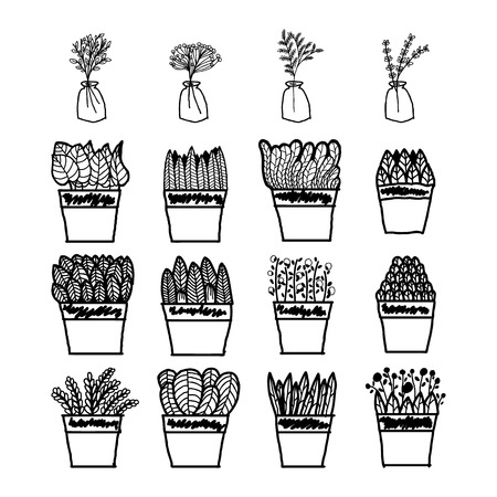 simple doodle plant decoration in pots. can be used to enhance vectors, design sketches of books, decorations and notebooks.thick black line style design This plant is complete with pots and glass