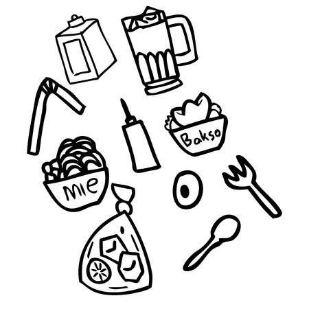 Indonesian style doodle food, complete with traditional noodles, iced tea, oranges, keriong cake, meatballs, chili sauce, soy sauce. suitable for the food industry and medium-sized businesses