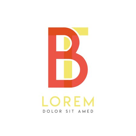 TB colorful logo design with pink orange and gray color that can be used for creative business and advertising. BT logo is filled with bubbles and dots, can be used for all areas of the company Иллюстрация