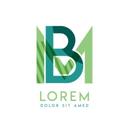 MB luxury logo design with green and dark green color that can be used for creative business and advertising. BM logo is filled with bubbles and dots, can be used for all areas of the company