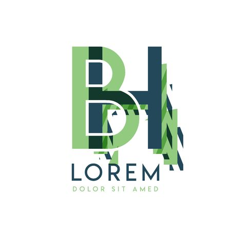 HB colorful logo design with green and dark green color that can be used for creative business and advertising. BH logo is filled with bubbles and dots, can be used for all areas of the company