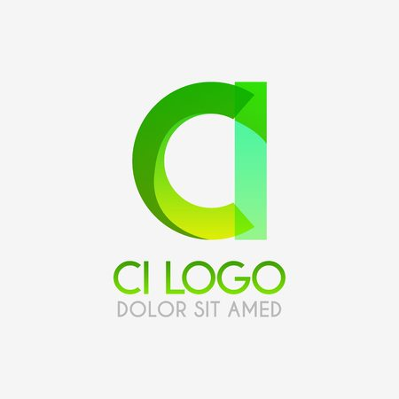 The CI logo with striking colors and gradations, modern and simple for industrial, retail, business, corporate. this IC logo made for online and offline media both web, mobile, logo, brochure, flayer
