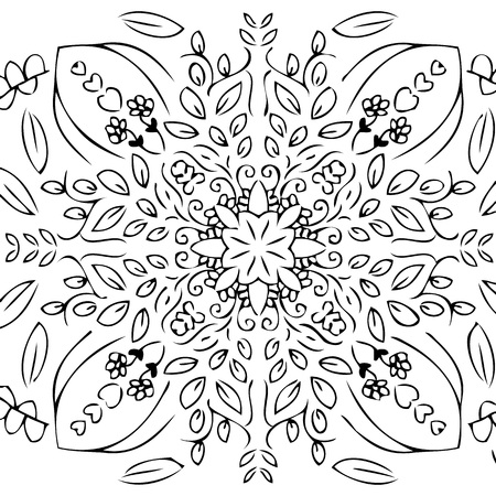 doodle garden design with a circle shape. there are leaves, stems, flowers, beetle insects, butterflies. and ornate ornaments. shaped circle and symmetrical. in thick line drawings