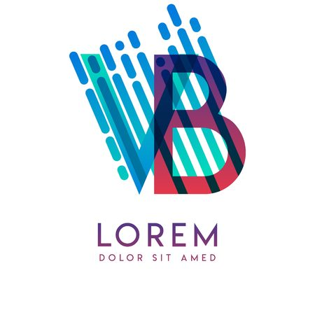 VB logo with the theme of galaxy speed and style that is suitable for creative and business industries. BV Letter Logo design for all webpage media and mobile, simple, modern and colorful Illusztráció