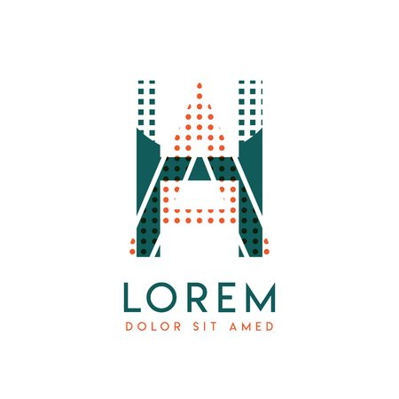 HA modern logo design with orange and green color that can be used for creative business and advertising. AH logo is filled with bubbles and dots, can be used for all areas of the company Logo