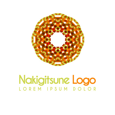 green and yellow flower logos with geometric shapes. for the celebration of religion and architecture of the Middle East. suitable for corporate, business and development interiors