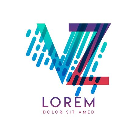 VZ logo with the theme of galaxy speed and style that is suitable for creative and business industries. ZV Letter Logo design for all webpage media and mobile, simple, modern and colorful