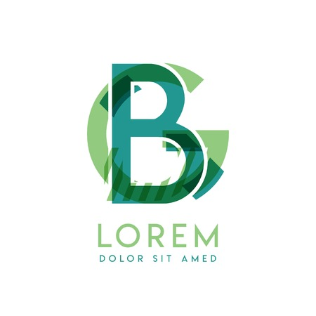 GB luxury logo design with green and dark green color that can be used for creative business and advertising. BG logo is filled with bubbles and dots, can be used for all areas of the company