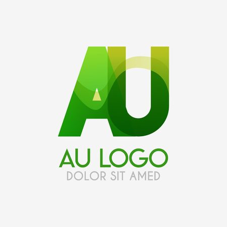 The AU logo with striking colors and gradations, modern and simple for industrial, retail, business, corporate. this UA logo made for online and offline media both web, mobile, logo, brochure, flayer
