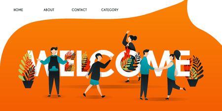 """men, women and people who get acquainted with each other in the words """"WELCOME"""". the team shook hands to greet and introduce themselves for web page, banner, presentation,concept Vector illustration"""