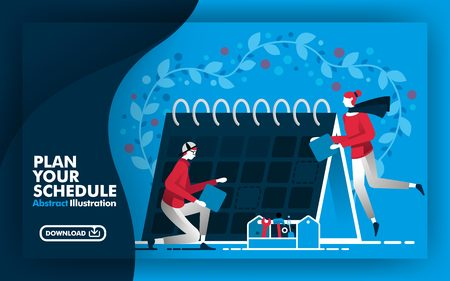 Vector abstract illustration .Web banner and poster in blue and dark blue. with title plan your schedule. people working around calendar and determine schedule. suitable for print. Flat cartoon style