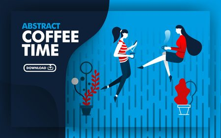 Vector abstract illustration .illustration website banner with blue, dark blue and red with coffee time theme. two women were relaxing drinking coffee in the rain. can use for page. Flat cartoon style Ilustração