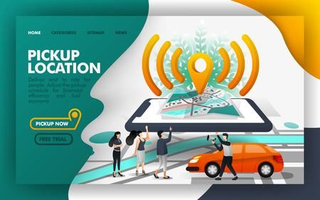 Pickup location Pin wifi isometric Vector Illustration Concept, Share a ride with other people . Easy to use for website, banner, landing page, brochure, flyer, print, mobile app, poster, template, UI