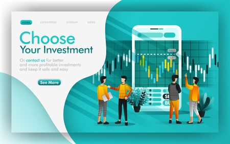 Choose good investment and saving Vector Illustration concept, people discuss each other to make investment choices. Easy to use for website, banner, page, brochure, print, mobile, app, poster, UI UX Ilustração