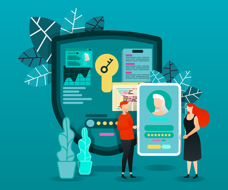flat cartoon character. vector illustration for security, technology. people who trying to log in to smartphone account. security shield with key reading data and processing to make the account open Çizim