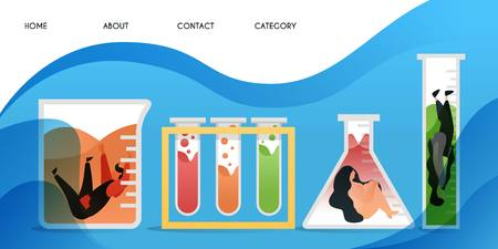 stuck in laboratory. collection of scientists who were caught up in research, vector template background isolated, can be use for presentation, web, banner ui ux, landing page