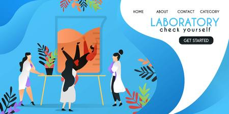 check yourself in laboratory. scientist who was checking a man who drowned in a canister, vector template background isolated, can be use for presentation, web, banner ui ux, landing page Illustration