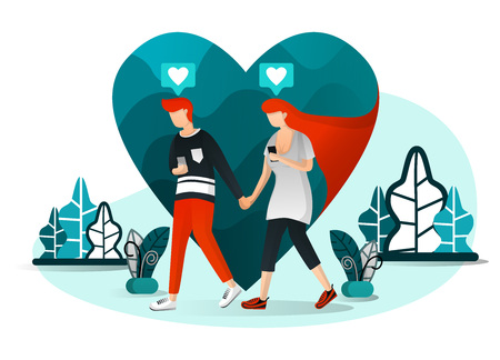 Vector illustration of millennial couple, present love, technology, social life 4.0,couple chatting on date. Man walking with his girlfriend but pay attention to smartphone. Flat cartoon character Illustration