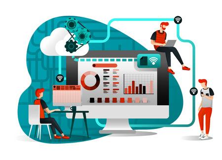 illustrazione vettoriale di tecnologia di archiviazione file, condivisione, lavoratore remoto, industria di rete 4.0. persone che condividono file di lavoro. il miglioramento del cloud per il trasferimento è efficace e più veloce. personaggio dei cartoni animati piatto Vettoriali