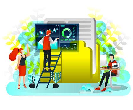 Männer, die nach Daten auf dem riesigen Ordnersymbol suchen, und der Arbeiter betreibt Suchdaten und ordnet Daten im Ordner an. Vektor-Illustration für Web, Element, Banner, Mobile App, Präsentation, Benutzeroberfläche. Flacher Cartoon-Stil