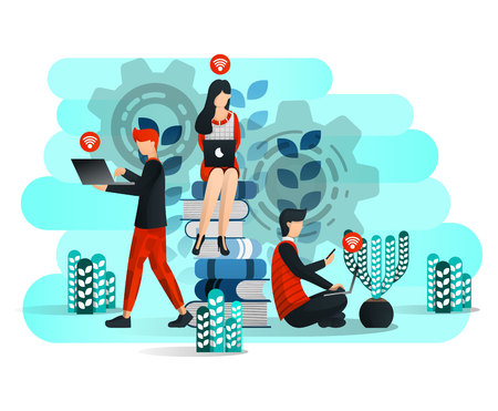 Online Learning With Internet and Laptop, Student Studying Around Pile of Book. Face of Education 4.0. Vector Illustration For Web, Element, Banner, Mobile App, Presentation, UI UX. Flat Cartoon Style 일러스트
