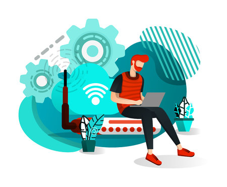 Men Sitting on Router Hub and Connected to Wifi Internet Network. Internet of Things to Get Information and Data. Flat Cartoon Style. Vector Illustration For Web Page, Banner, App, Poster, UI UX, Page