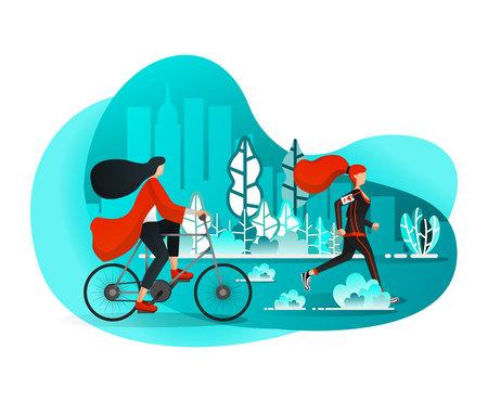 Ragazze che si godono il tempo libero nelle mattine estive con attività sportive a City Central Park come corsa e bicicletta. Stile cartone animato piatto. Illustrazione vettoriale per pagina Web, banner, poster, pagina di destinazione, app, interfaccia utente