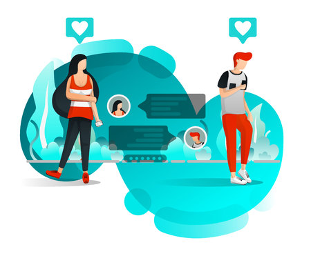 Girl Who Waiting for Reply from Her Boyfriend. Couple Exchanging Messages. Flat Cartoon Style. Vector Illustration For Web Page, Element, Banner, Presentation, Poster, Landing Page, Flyer, App, UI UX